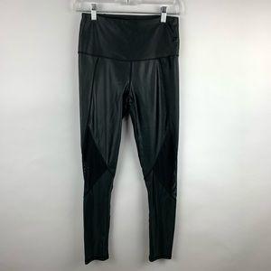 Mono B Black Faux Leather Leggings Sheer Mesh Gym